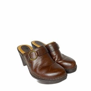 Born Brown Leather wedge Mules Clogs